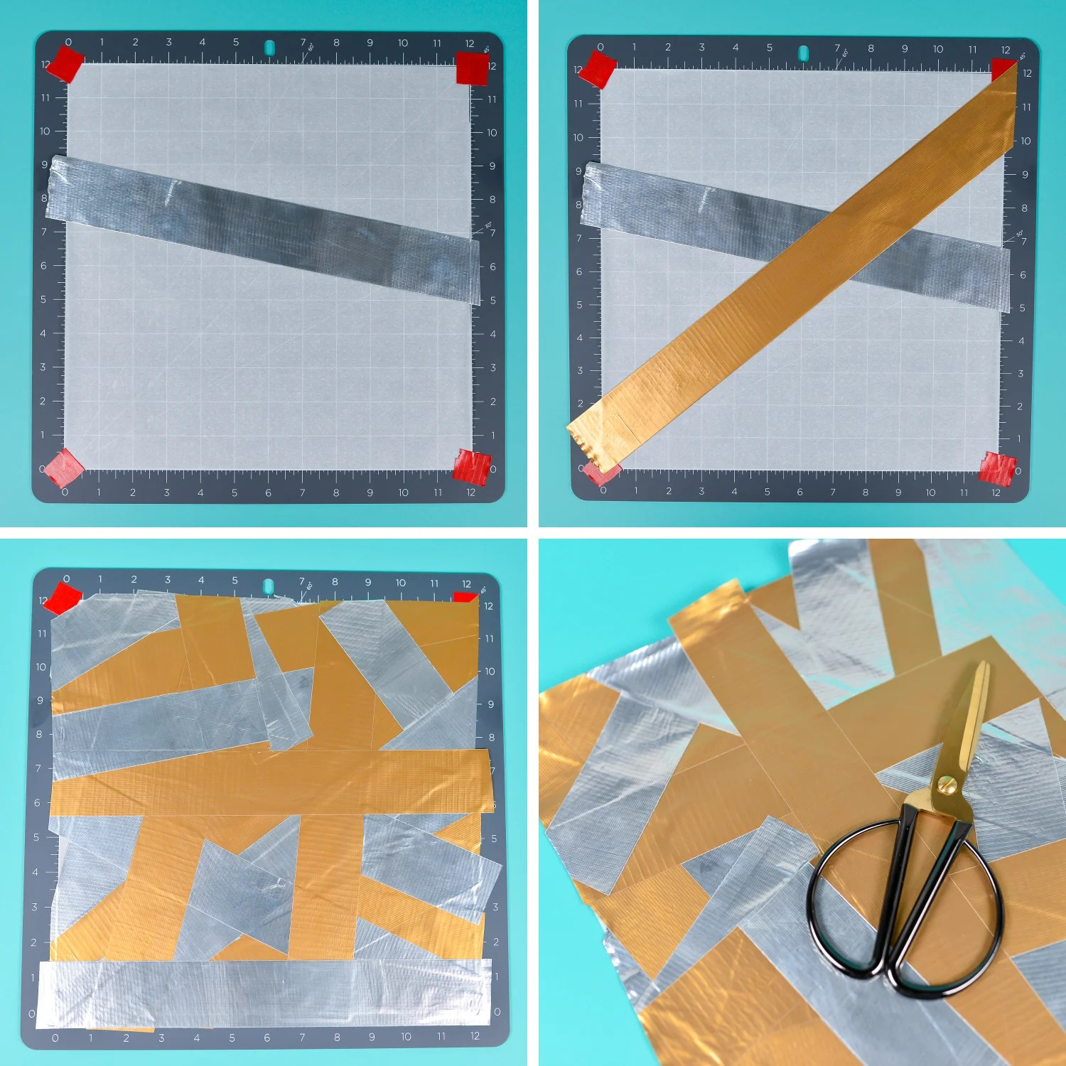 Collage of how to layer Duck Tape