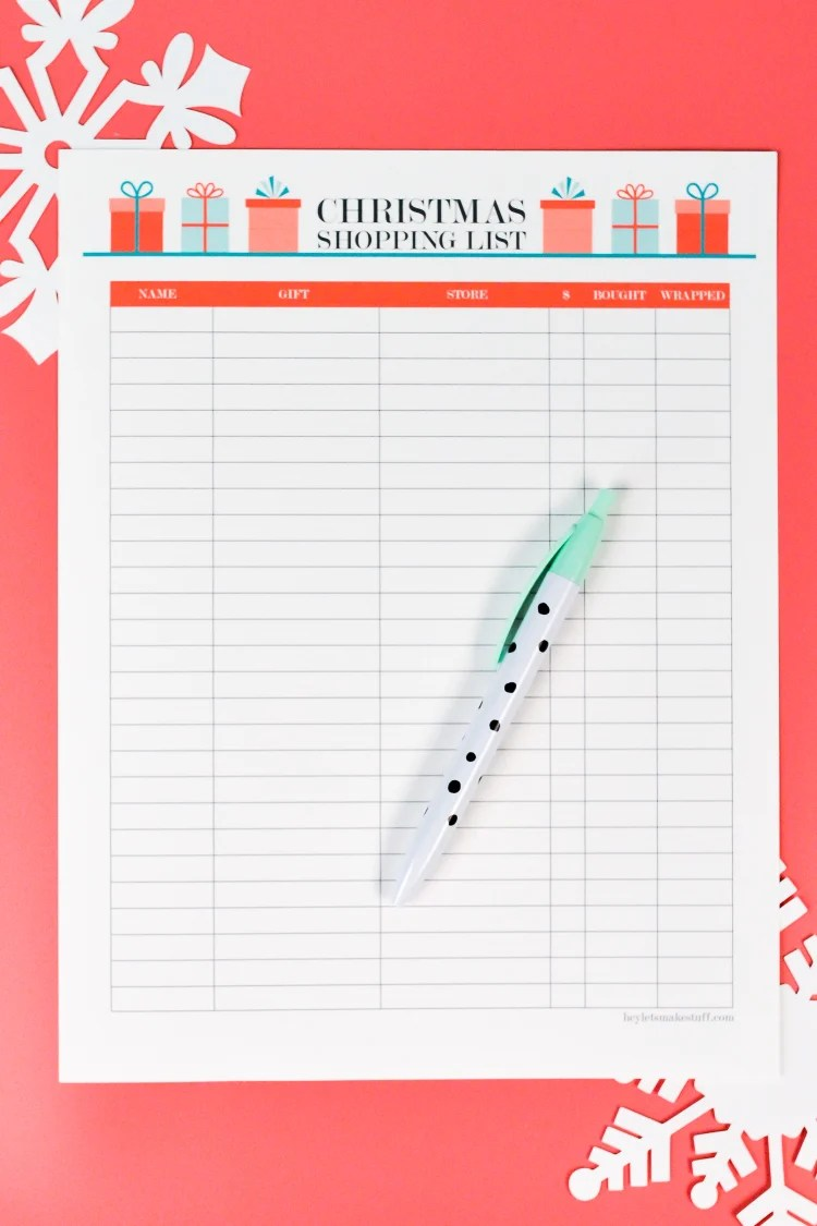 Printable Christmas Shopping List Thank You Note Tracker