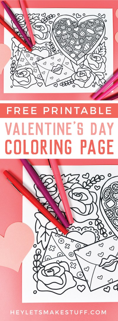This free printable Valentine's Day coloring page is all about love! A box of chocolates, love letters, and big roses are perfect for all sorts of shades of red and pink. Print it out for free!