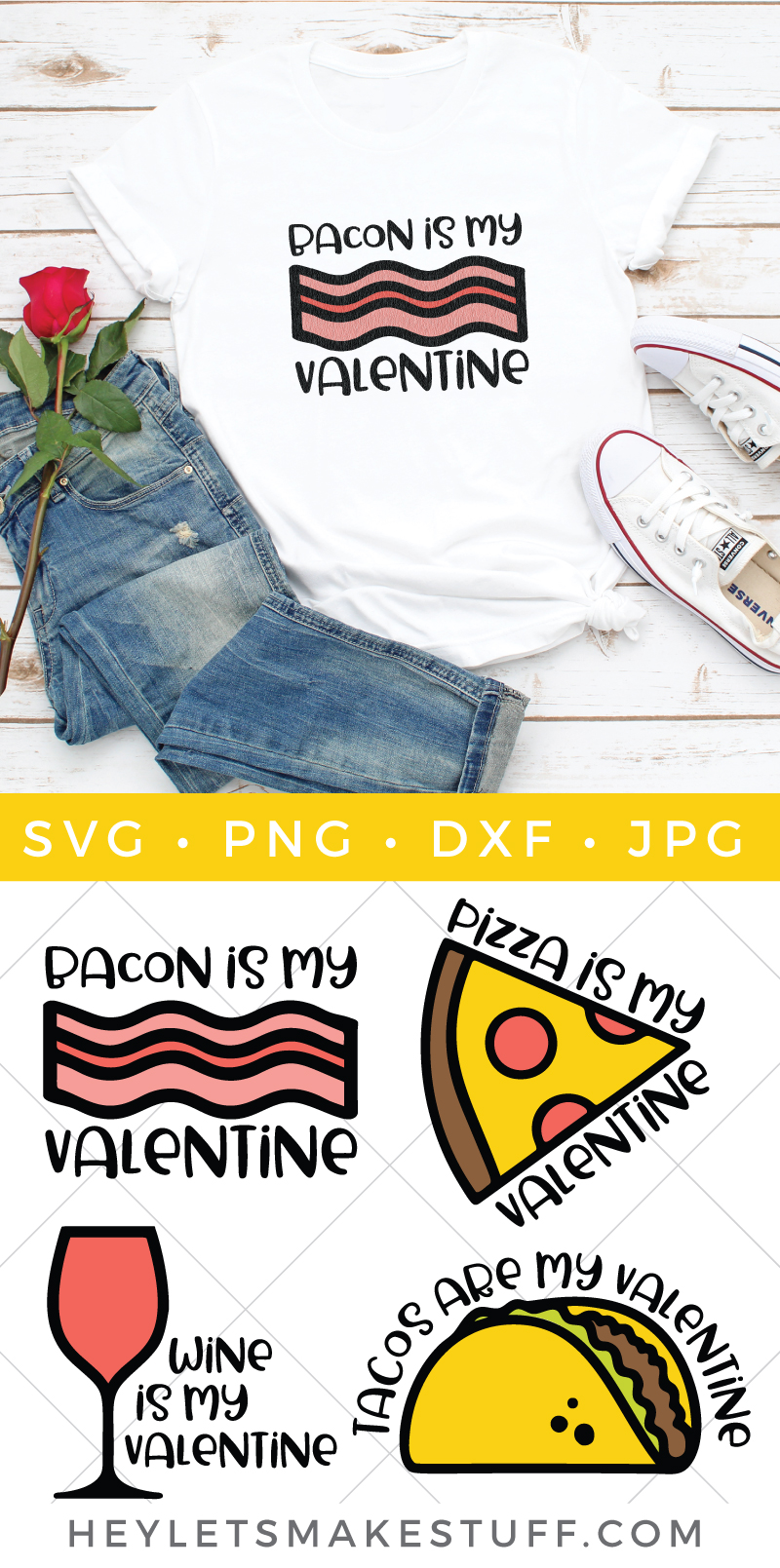 If roses and hearts just aren't doing it for you, this Funny Food SVG Valentines bundle may be the way to your heart. Create t-shirts, printables and so much more to celebrate what you truly love this Valentine's Day. via @heyletsmakestuf