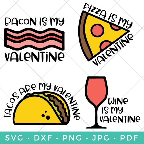 If roses and hearts just aren't doing it for you, this Funny Food SVG Valentines bundle may be the way to your heart. Create t-shirts, printables and so much more to celebrate what you truly love this Valentine's Day.