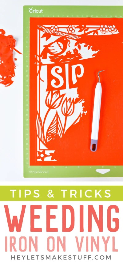 Frustrated weeding adhesive vinyl for projects made using your Cricut or other cutting machine? Here are tips and tricks to make weeding vinyl easier!