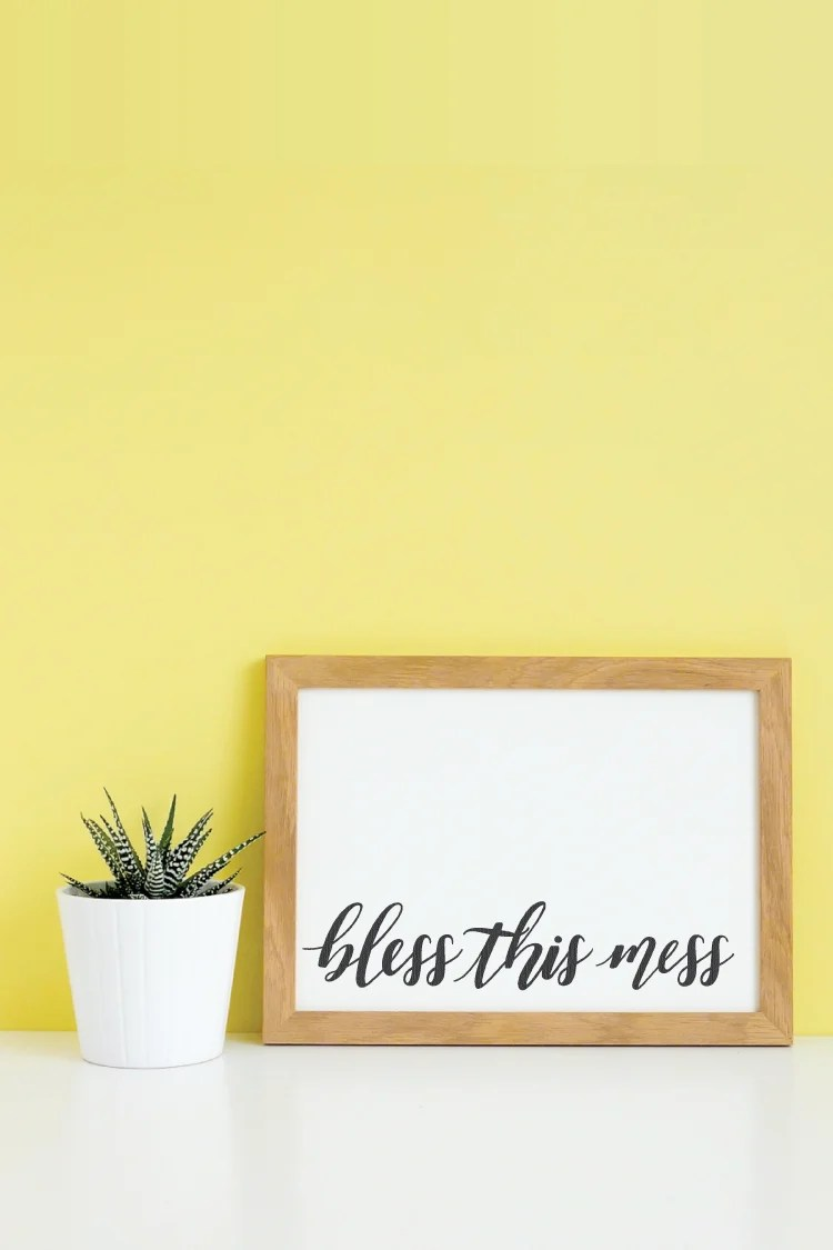 If you're ready to stop hiding and just call it like it is, then this Bless this Mess SVG is for you! Add this sweet supplication to printables, throw pillows, tea towels and more.