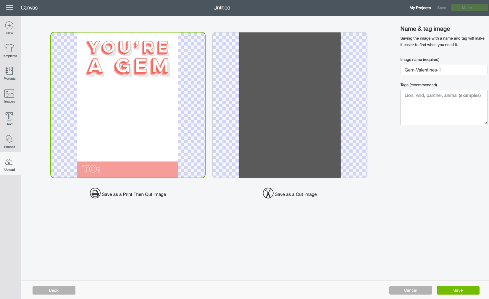 In the Name & Tag Image screen, choose Print then Cut image and click Save.