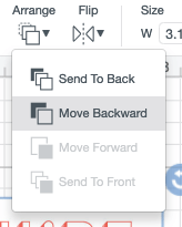 When you insert your images, you'll notice that the gems are behind the card. Click on the card and use the Arrange dropdown to Move it Backward to move it behind the gems.