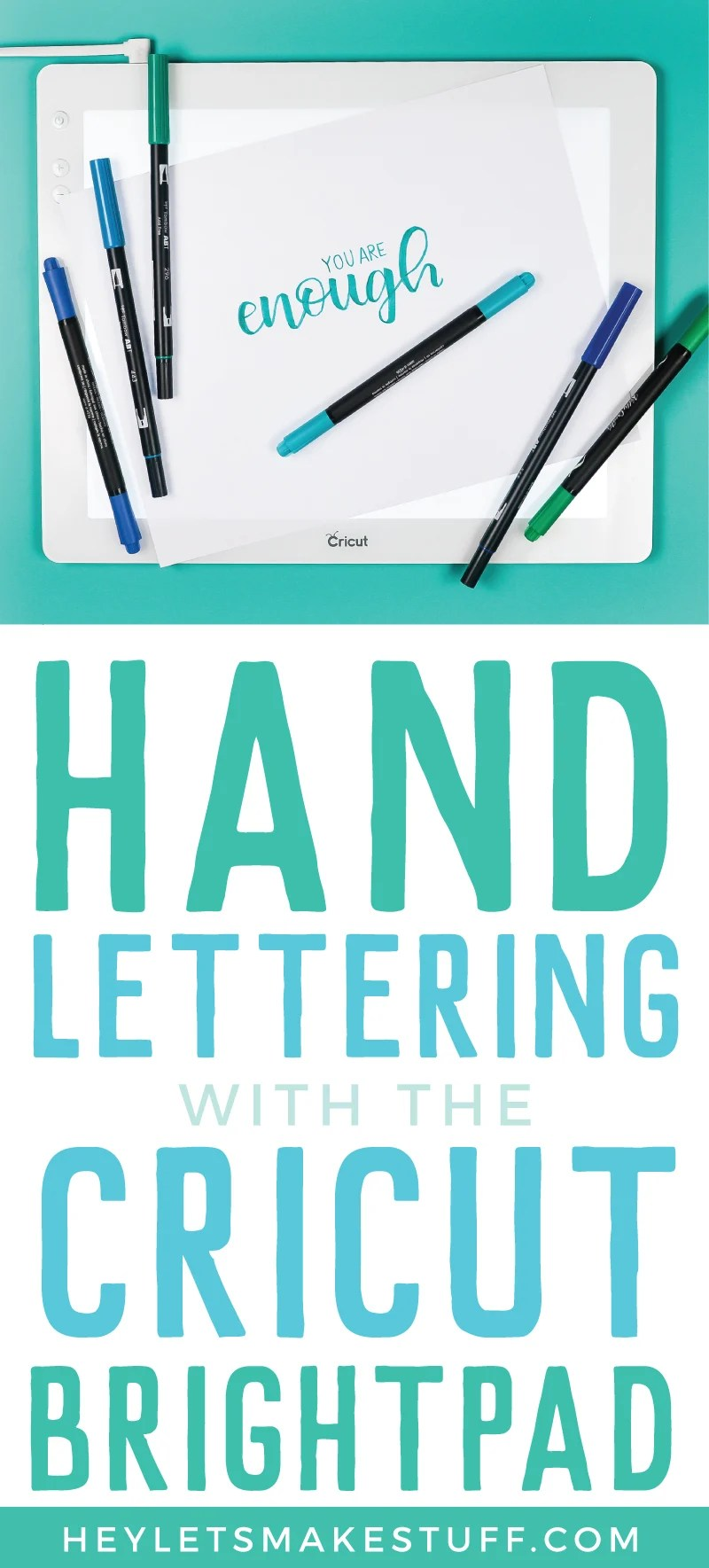 The Cricut Brightpad is not just for weeding vinyl! I use mine all the time to practice my hand lettering—all you need are practice sheets, blank paper, and a pen! via @heyletsmakestuf