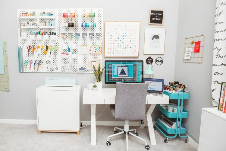 View of the desk and pegboard.