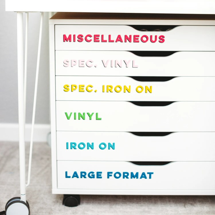 IKEA ALEX drawers, used for storing vinyl and other large materials.