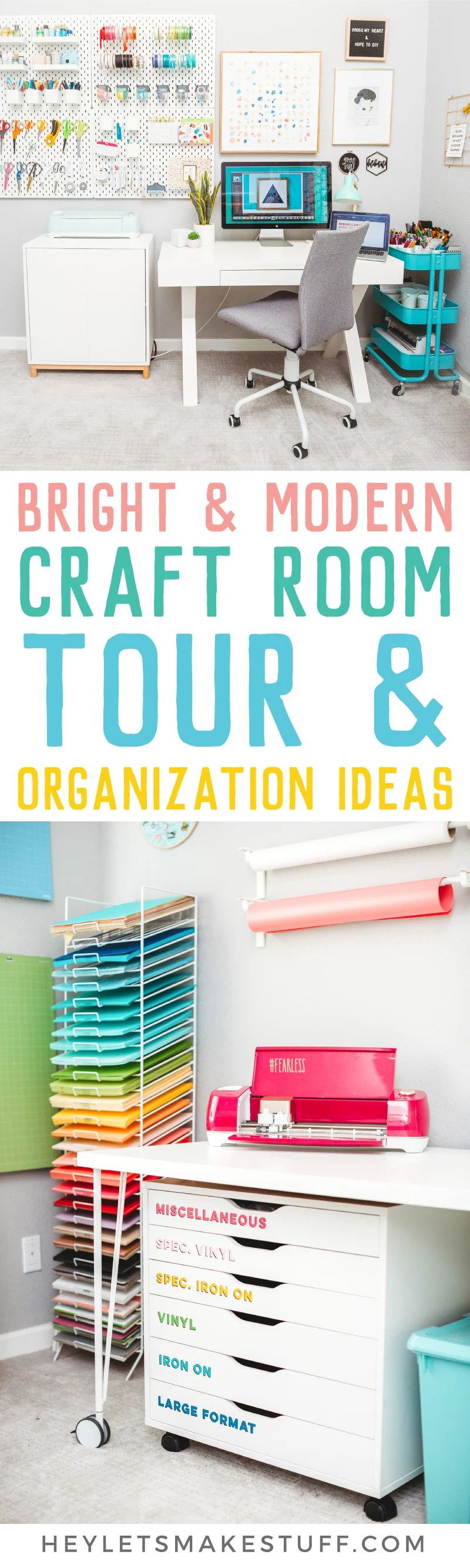 Excited to finally share my craft room reveal! It's chock full of craft room organization ideas to hide the clutter, plus all sorts of other modern craft room inspiration! via @heyletsmakestuf
