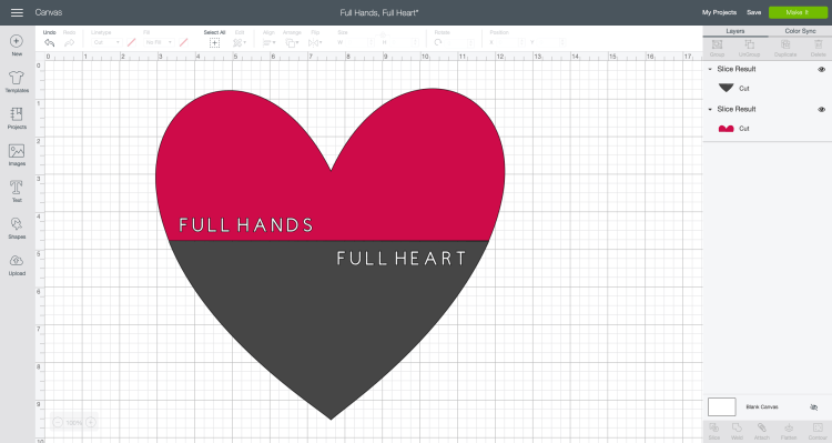Full Hands, Full Heart cut file in Design Space