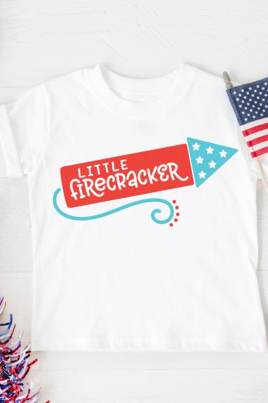 Get your little one in the patriotic spirit using this adorable Little Firecracker SVG—it's free! Perfect for t-shirts, bodysuits, and more. Then check out more than 15 free 4th of July cut files!