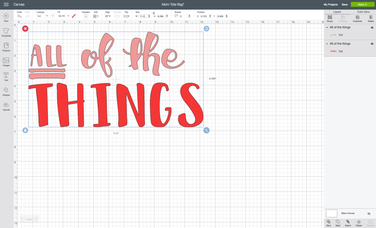 """Resize the project in Cricut Design Space to be as large as a standard mat will cut: 11.5"""" wide."""