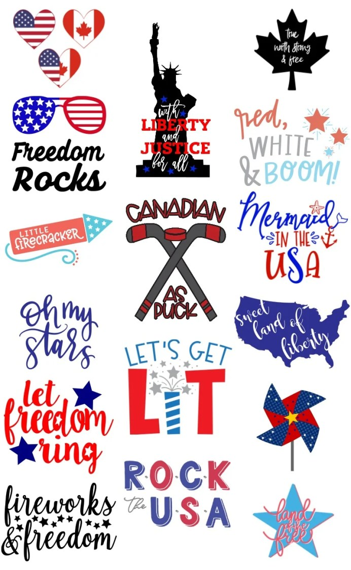 More than 15 free patriotic cut files for both US and Canadian Independence Day!