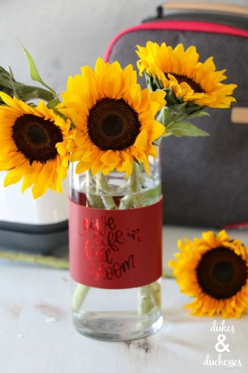 Fill vases with the bride's favorite flowers and wrap them with these DIY Leather Vase Wraps from dukesandduchesses.com, add the bride's new last name or the couples' first names for a special touch.