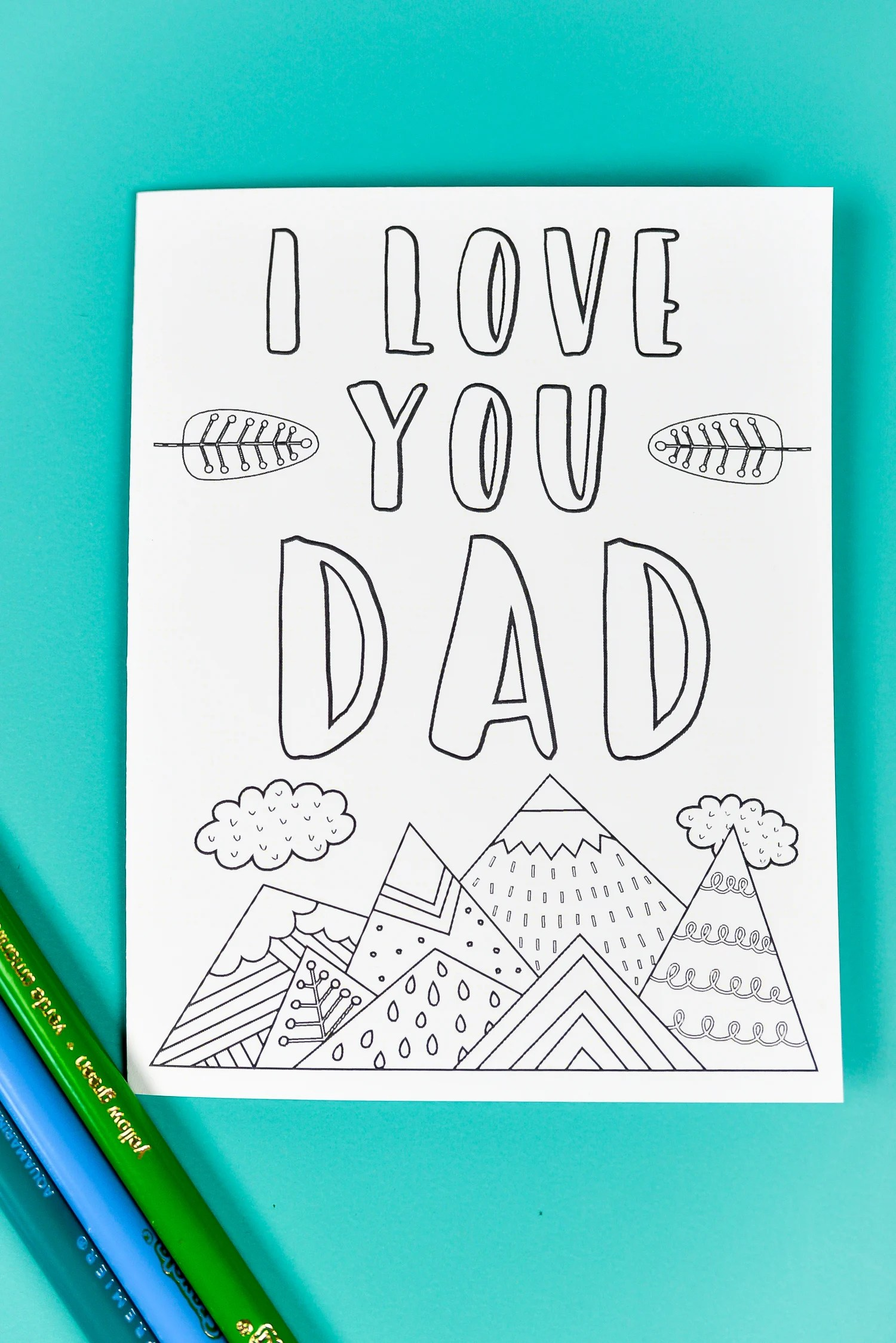 Printable fathers day card gift tags bonus coloring page