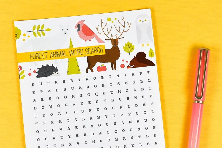 Close up of animal word search