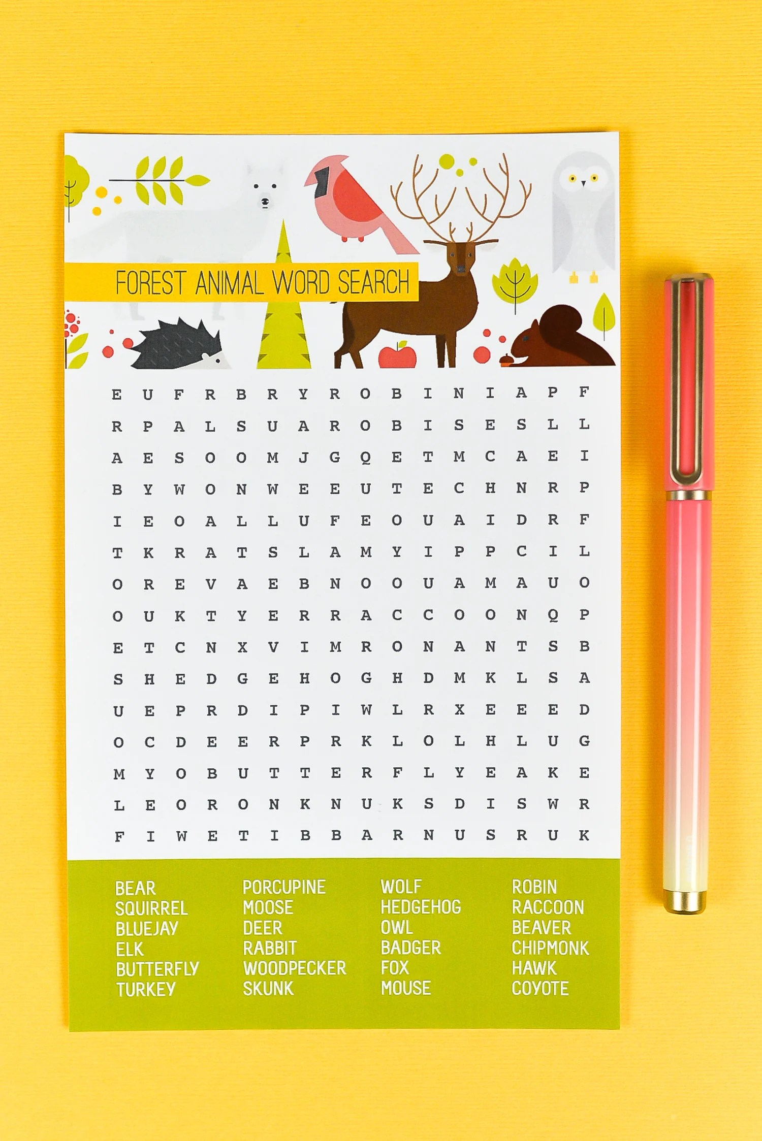 photograph relating to Free Printable Woodland Animal Templates referred to as No cost Printable Woodland Animal Phrase Glance - Hey, Allows Produce