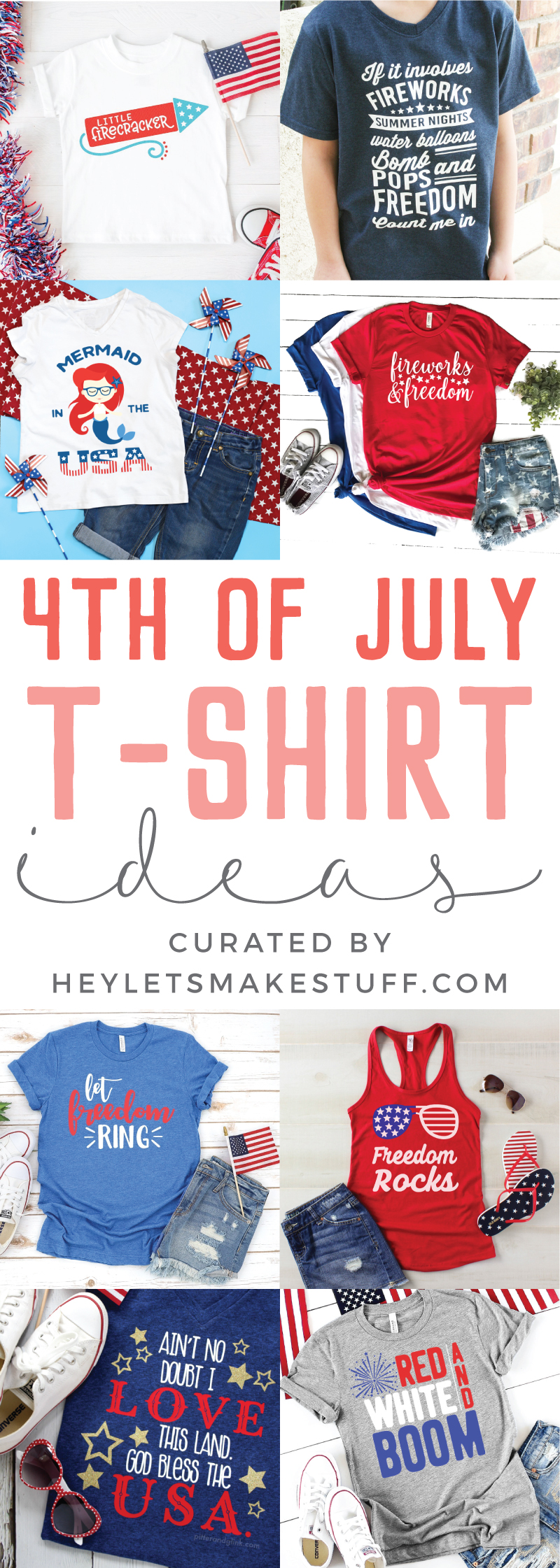 Sport that red, white and blue this Independence Day with these fun, clever and patriotic 4th of July T-Shirt Ideas! via @heyletsmakestuf