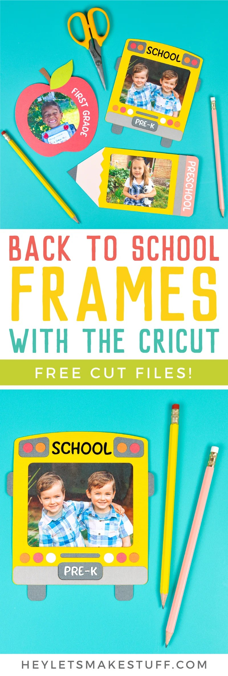 Immortalize those first day of school photos with these three school-themed frames, cut on your Cricut! These back to school frames are perfect for scrapbooks, teacher projects, refrigerators and more! via @heyletsmakestuf