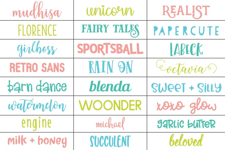 Various fonts that will work on Cricut, Silhouette, Brother, or Sizzix machine