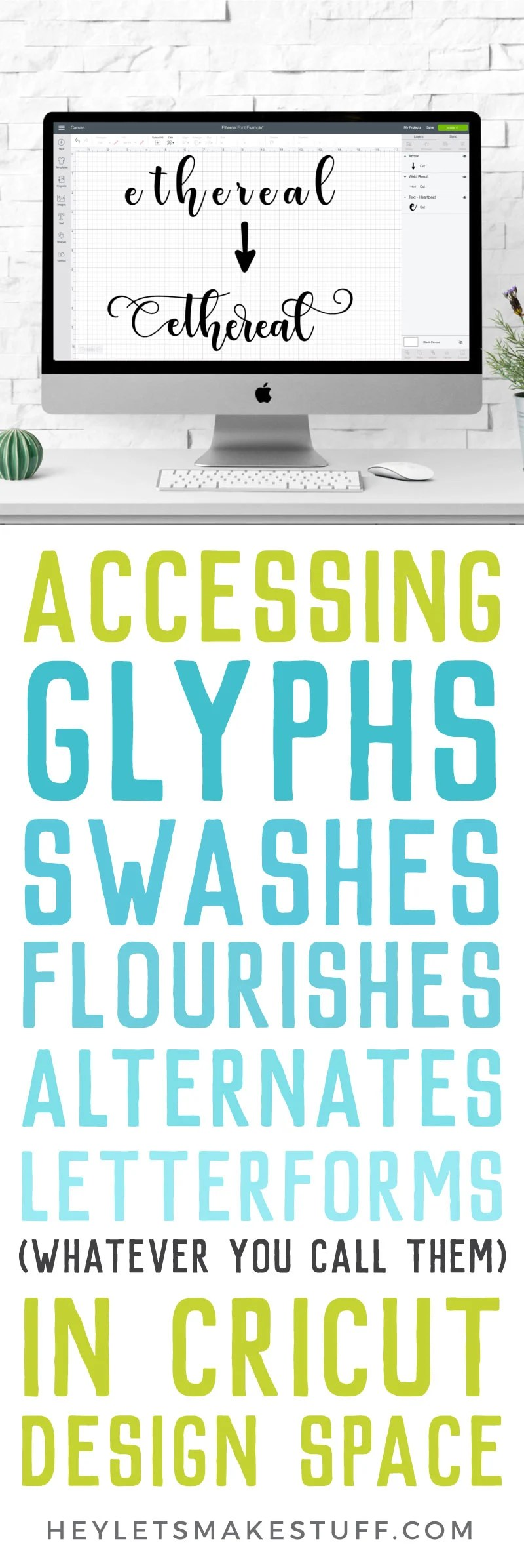 Fonts often come with extras—glyphs, special characters, various letterforms, flourishes, ligatures, stylistic alternatives, and more! Here's how to use these glyphs in Cricut Design Space to make your designs even more unique.  via @heyletsmakestuf