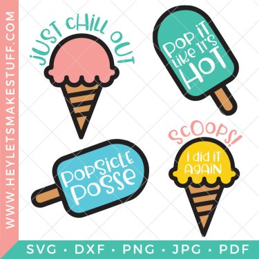 We all scream for ice cream! This fun and hip Popsicle & Ice Cream SVG Bundle is full of sweet, crafty and cool possibilities.