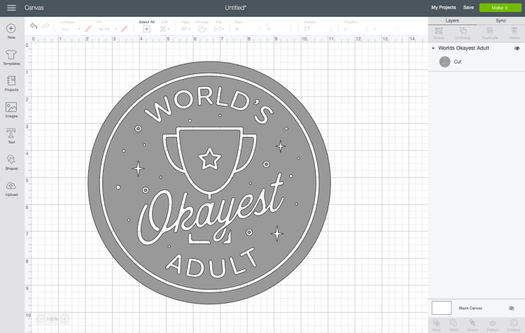 "Screenshot of ""World's Okayest Adult"" badge in Design Space."