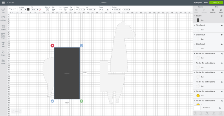Make a Cricut Project Bigger than the Mat Screenshot: Place rectangle over next llama piece