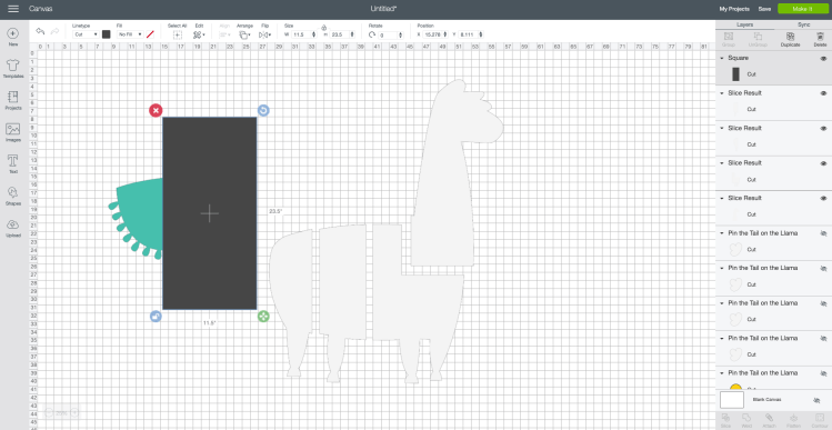 Make a Cricut Project Bigger than the Mat Screenshot: Create a rectangle