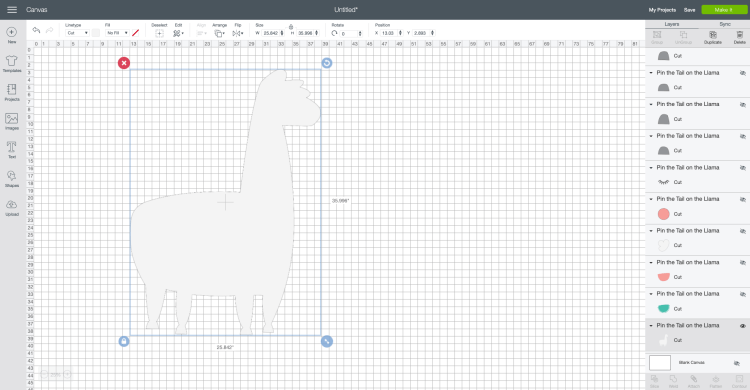 Make a Cricut Project Bigger than the Mat Screenshot: Hide layers