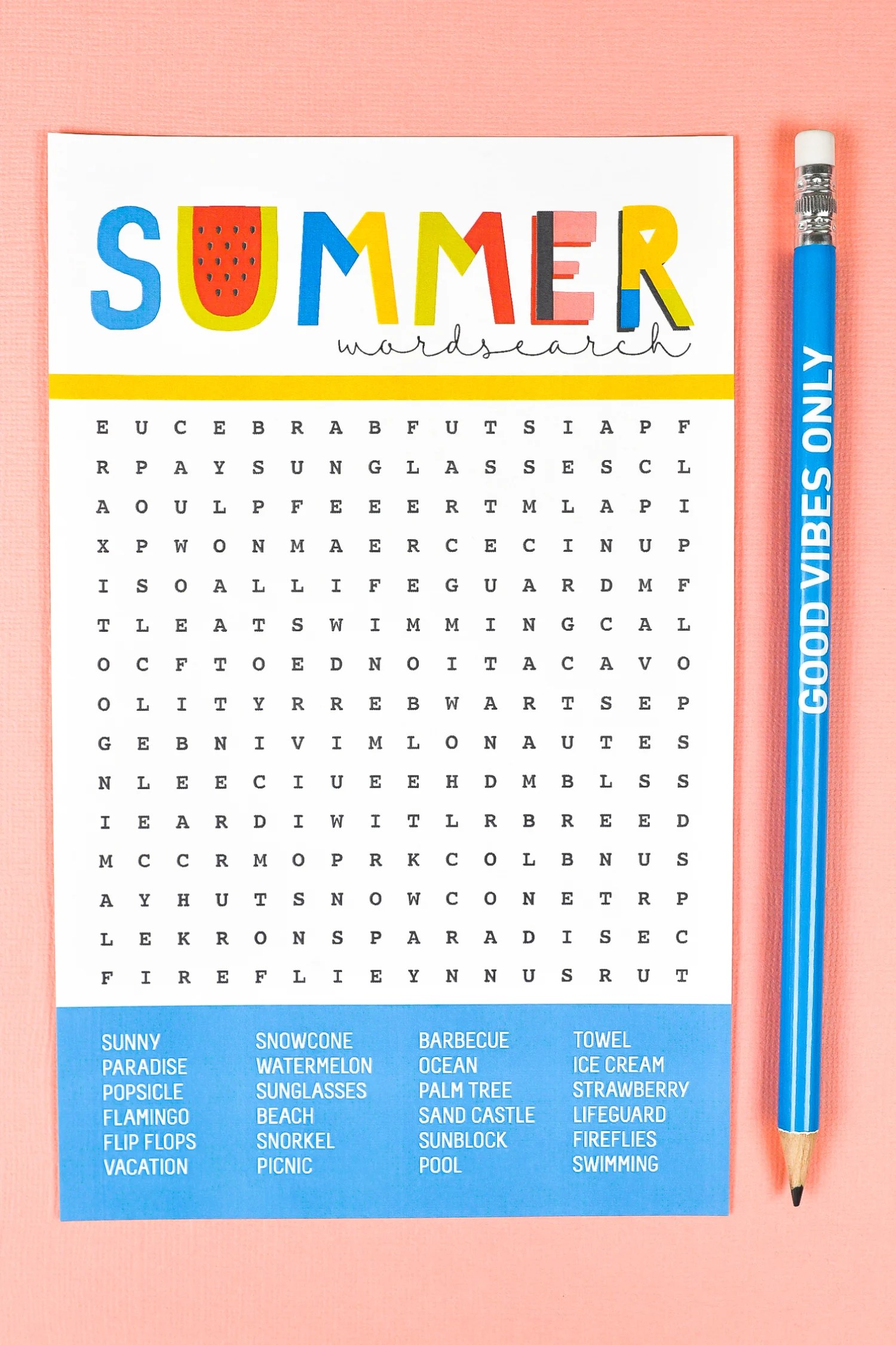 graphic relating to Free Printable Summer Word Search named Cost-free Printable Summertime Phrase Seem - Hey, Will allow Crank out Things