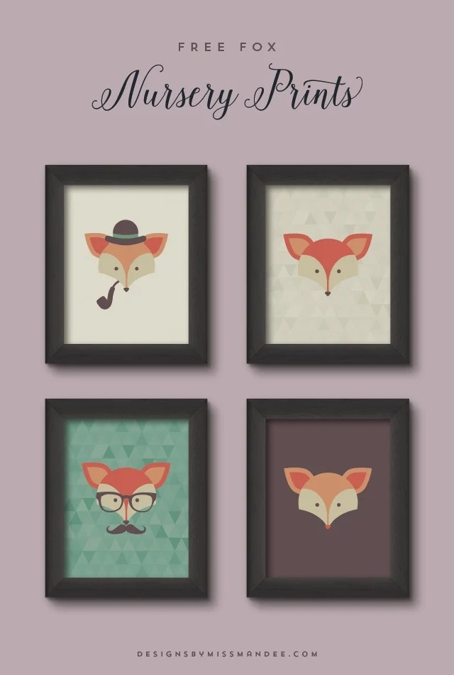 Which of these gentlemen foxes is your favorite? Don't worry, if you can't pick you download and print all four. designsbymissmandee.com will help you add some cuteness to your little man's room.