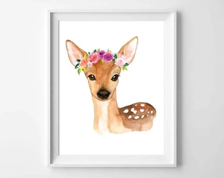 Take your pick from a sweet deer, rabbit or cat - any of these free watercolor woodland printable art pieces from burlapandblue.com bring a little bit of nature indoors.