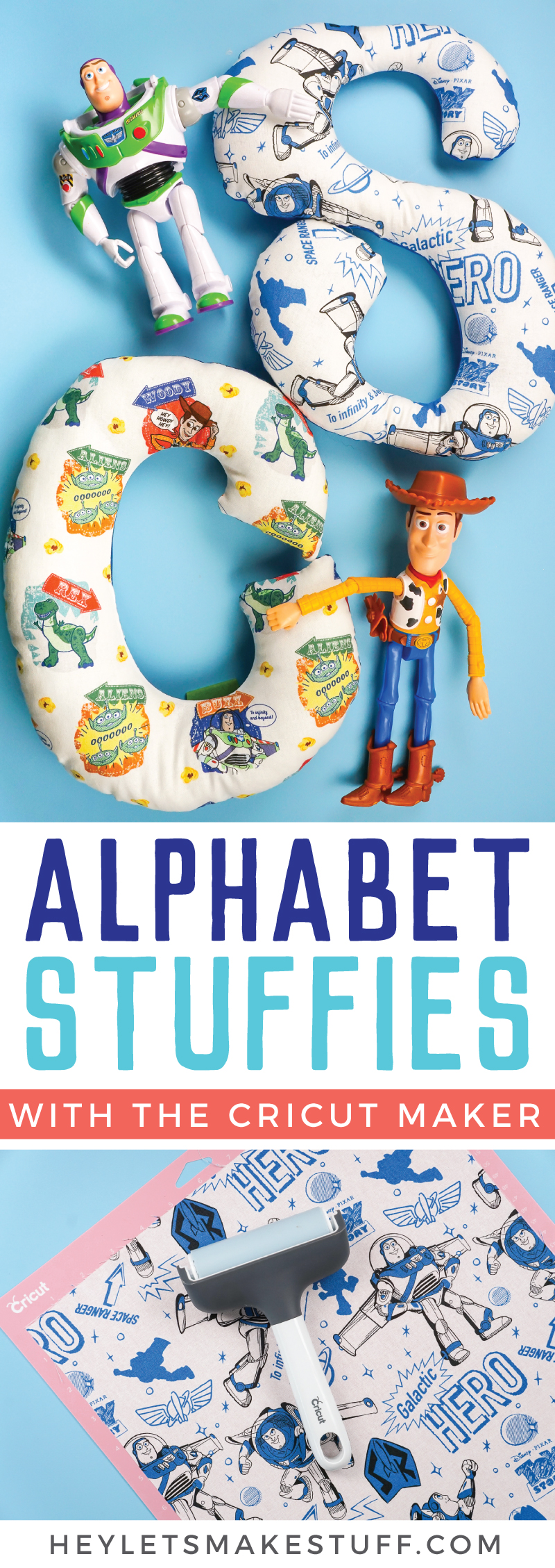 These alphabet stuffies, made using the Cricut Maker, are the perfect gift for a child learning their letters! Make one of out their favorite character fabric, like these fun Toy Story 4 patterns! via @heyletsmakestuf