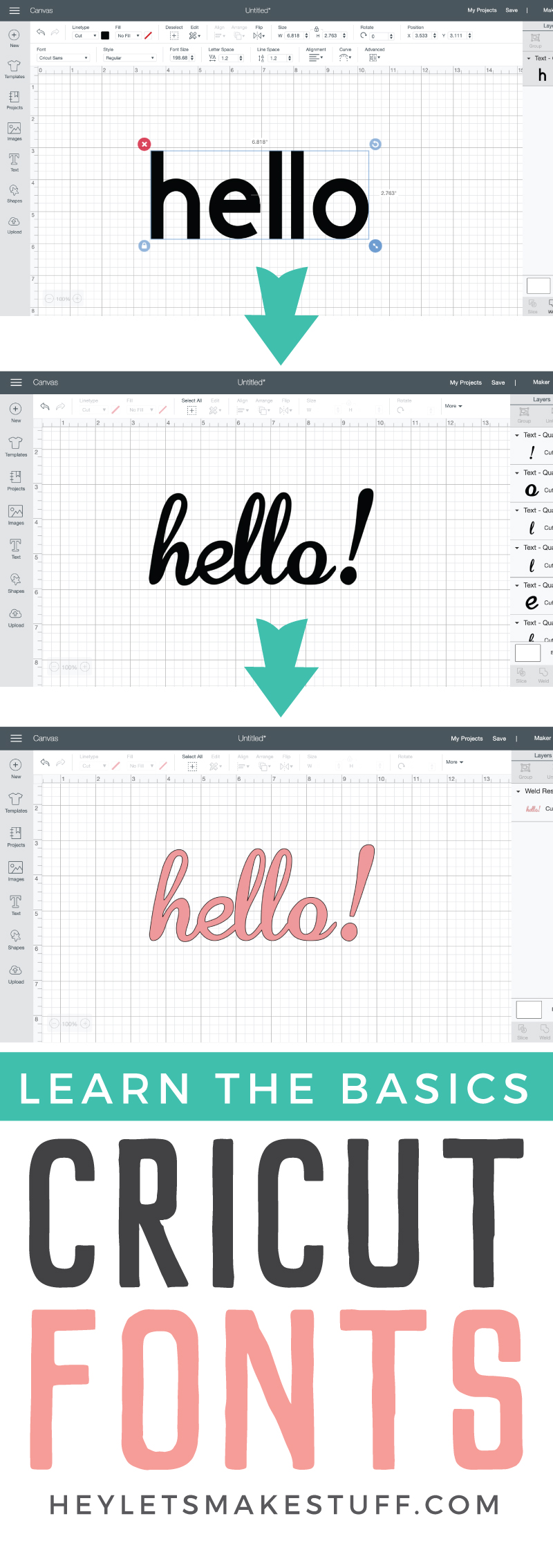 Cricut Design Space fonts are not as straightforward as you'd think!  Why are your letters all spaced out? Why are all your letters cutting separately? Check out these font basics in the Cricut Design Space! via @heyletsmakestuf