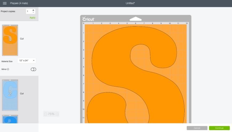 Screenshot: the Prepare Screen in Cricut Design Space
