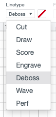 Change linetype to Deboss in Design Space