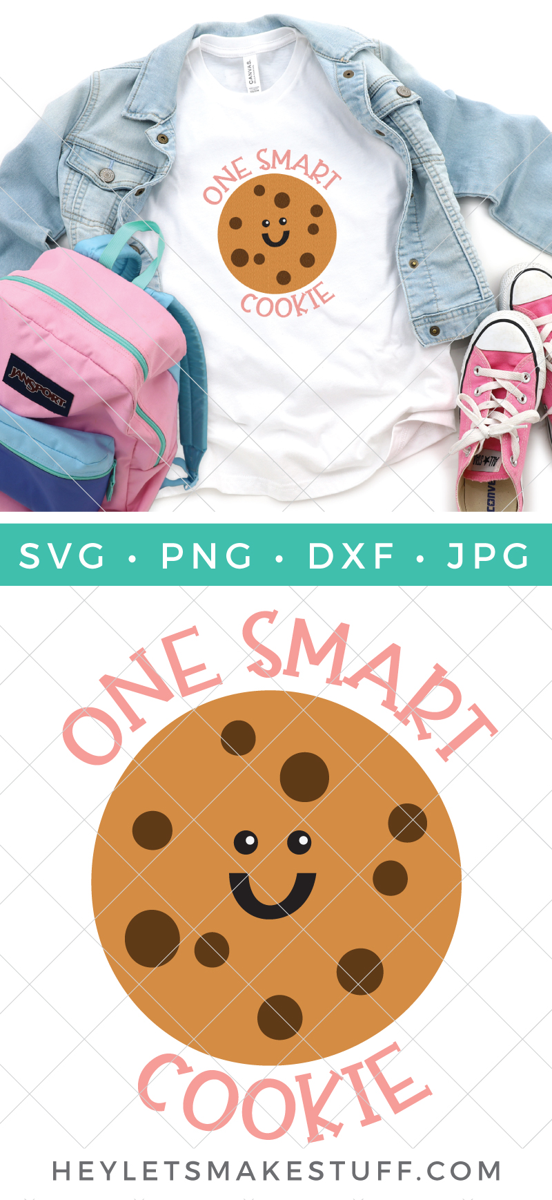 If you've got a little one who is smart, sweet and styling then this One Smart Cookie SVG is perfect. Add some cookie sass to tees, backpacks, lunchboxes, notebooks and more, just in time for the new school year. via @heyletsmakestuf