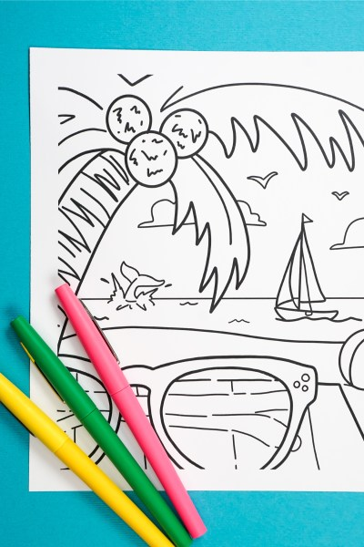 This free printable summer coloring page will put you in beach mood instantly. Grab some pens, sit back, relax and add your favorite colors to palm trees, waves, shades and more!
