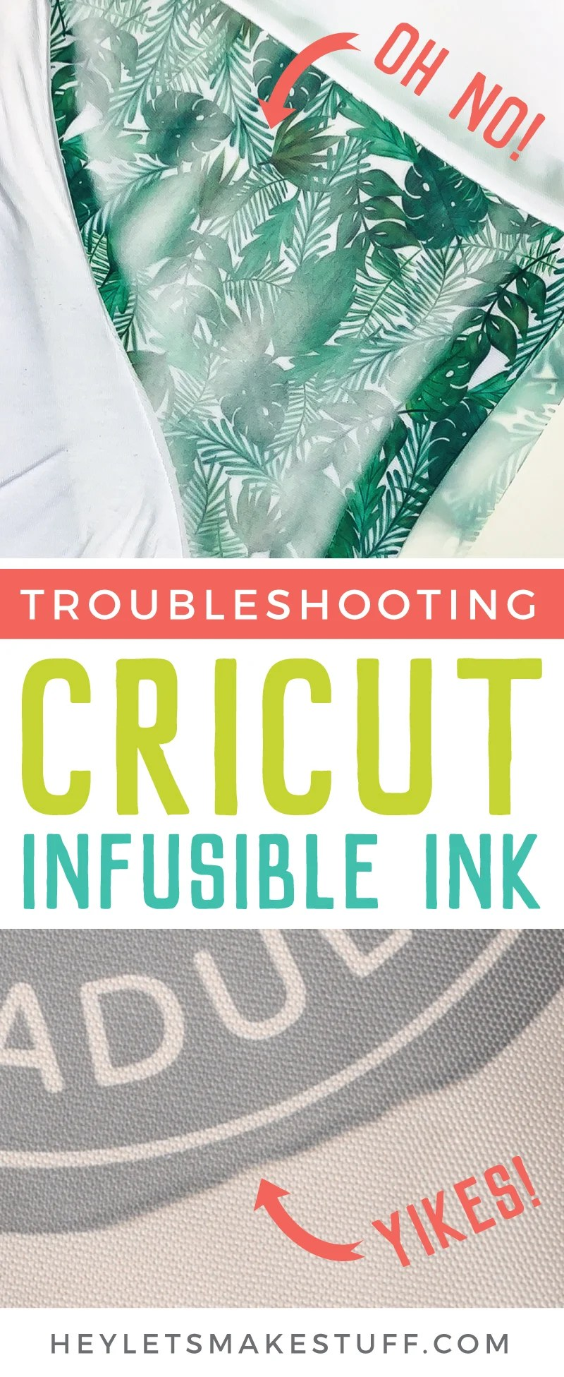 If you're having problems with ghosting, fading, splotching, or shifting, this guide will help you in troubleshooting Cricut Infusible Ink. Stop wasting expensive materials and learn how to get your projects right, the first time. via @heyletsmakestuf