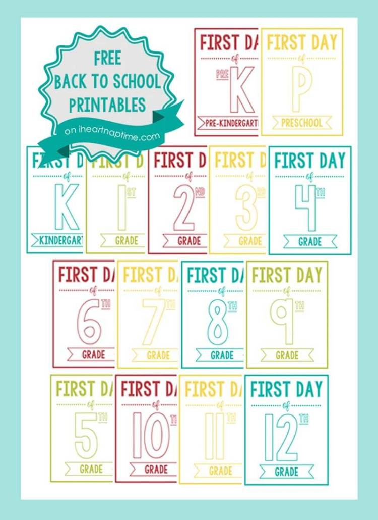 Tell those kiddos to say cheese and snap some great pictures on the first day of school, iheartnaptime.com shares printable signs from preschool to 12th grade.