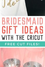 Show your bridesmaids how much you appreciate them with these personalized bridesmaid gift ideas! Get the free SVG files to make these bridesmaid shirts and peekaboo wine glasses!