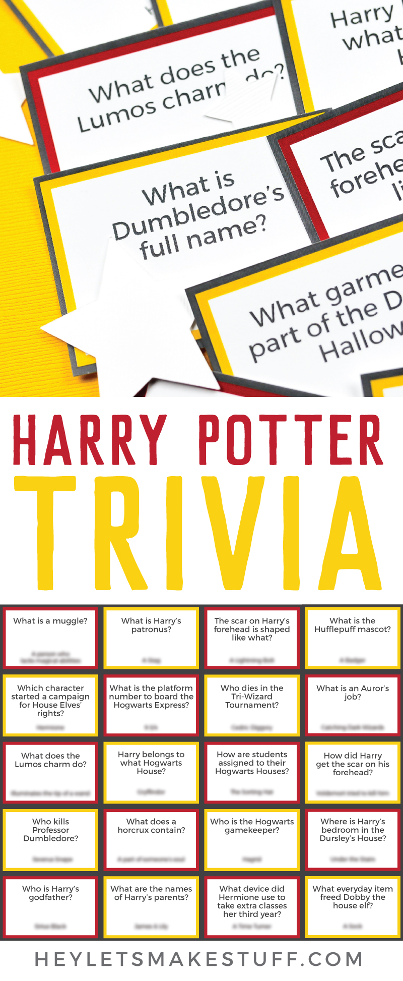 Test your smarts of everything Harry Potter—from characters to charms, Hogwarts to horcruxes—with this fun printable Harry Potter Trivia! Perfect for a Potterhead trivia night or party. Two versions—easy and hard, so every Potter fan can participate! via @heyletsmakestuf