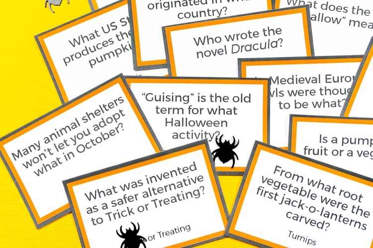 Close-up of some of the trivia cards