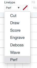 Use the dropdown to select Perf for perforation
