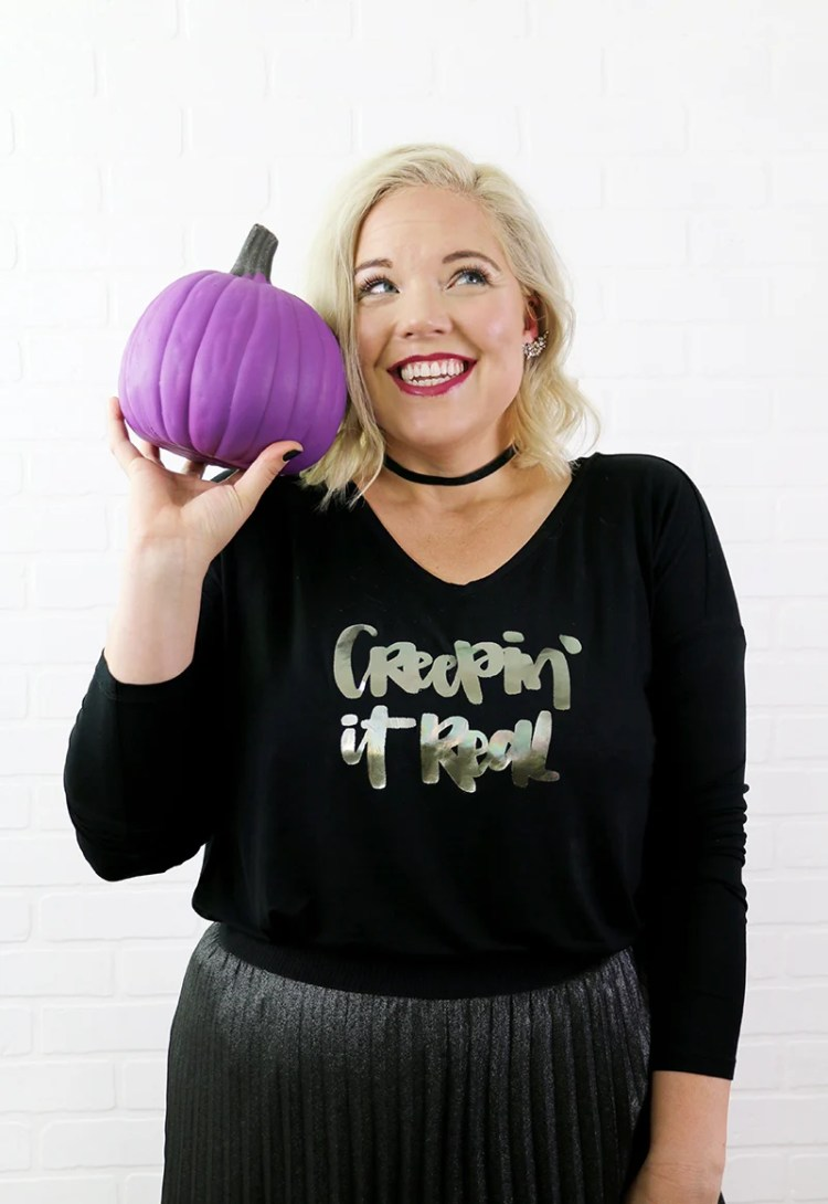 Add some shine to your Halloween fashion. Persialou.com shows us how to make DIY custom foil shirts with a Halloween twist.