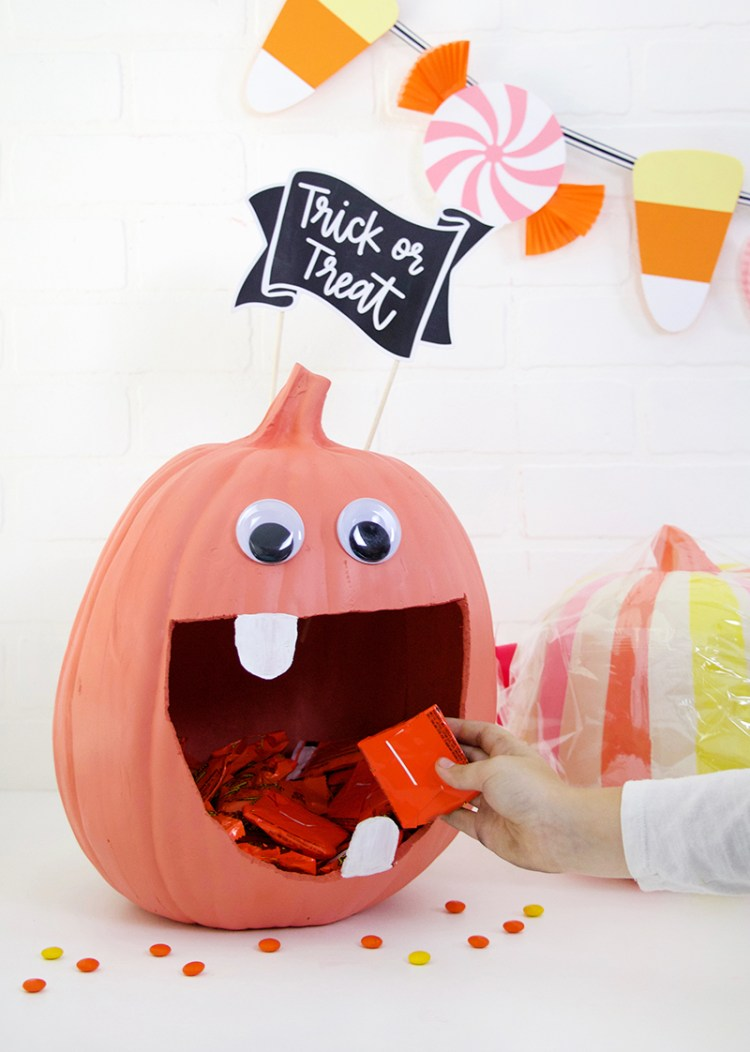 DIY a Pumpkin Candy Bowl and a colorful Halloween Banner with these cut files and ideas from persialou.com.