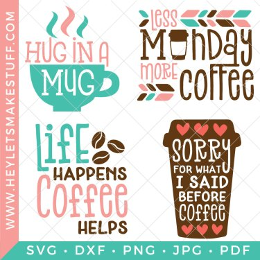 If nothing gets you going in the morning like that magical brown liquid in a mug then this Coffee SVG Bundle is for you! Declare your love for all things coffee with these four funny caffeinated cut files.