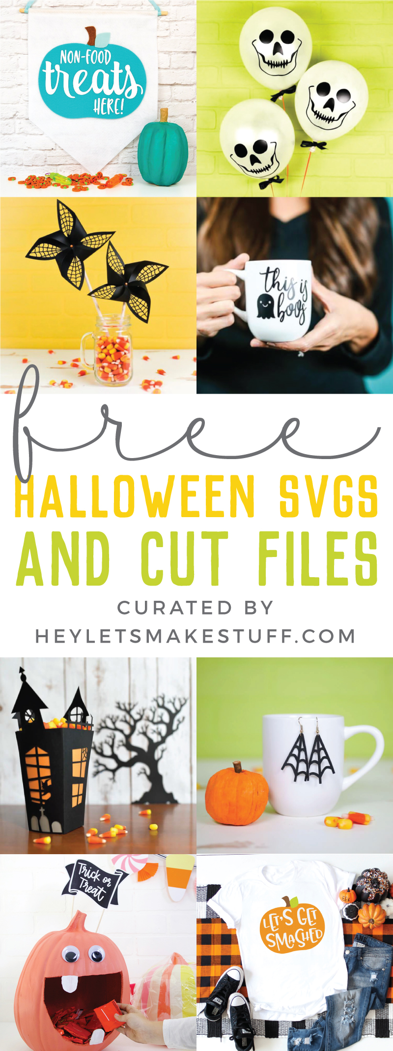 Spooky, ghoulish, silly or cutesy - whatever your Halloween style, this collection of Free Halloween SVGs and Cut Files is perfect for all your decorating and trick or treating plans. via @heyletsmakestuf