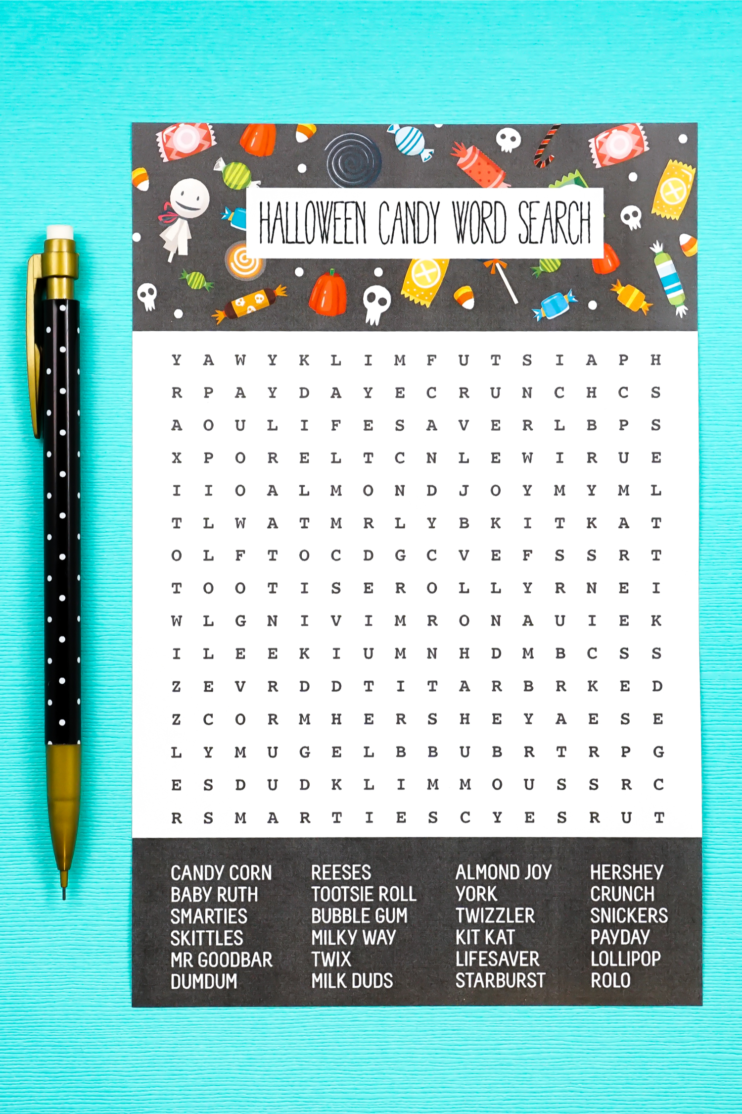Who doesn't love Halloween candy? Find all your favorites in this free printable Halloween word search! This deliciously fun activity is perfect for killing time before it's time to go trick or treating!
